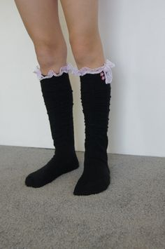 Hey, I found this really awesome Etsy listing at http://www.etsy.com/listing/121085372/ruffle-socks-black-and-pink-lace-girl