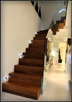 Elite Metalcraft Co Ltd - Project - Queens Gardens Straight Metal Staircase - treads and risers clad with american walnut Wooden Staircase Design, Wooden Staircases, Stairways, Glass Stair Balustrade, Treads And Risers, House Staircase, Decoration Entree, Glass Stairs, Building A House