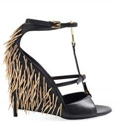 Tom Ford Leather spike wedge sandal  #HarpersBAZAAR #SpringStyle