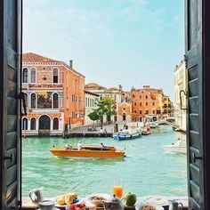 Palazzetto Pisani Boutique Resort, Venice, Italy. The Boutique Resort offers 4-star hotel services in two historic Palaces overlooking the Grand Canal and joined by the narrow Calle Genova: the 16th Century Palazzetto Pisani Ferri and 16th Century Palazzo Foscolo. This view from the Suite Duca di Genova is simply amazing!