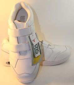 Mens Apollo Velcro White Leather Drew Shoes Double Depth Padded 8 W Wide $139 #Drew #Walking