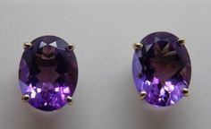 2.8 Ct Natural Amethyst Stud Earrings 10k Solid Gold - NWOT February Birthstone #iwi #Stud