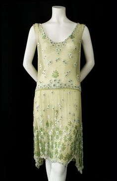 Beaded chiffon flapper dress, c.1925, from the Vintage Textile archives. by lupe