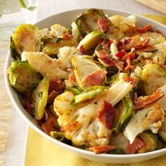 Roasted Cauliflower & Brussels Sprouts with Bacon Recipe from Taste of ...