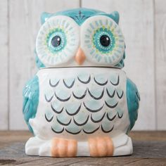 Keep your cookies fresh with this adorable owl cookie jar! Hand-sculpted ceramic jar with rubber seal. Owl Cookies, Cute Cookies, Owl Cookie Jars, Cookie Cutters, Ceramic Owl, Ceramic Jars, Ceramic Pottery, Owl Kitchen, Quirky Kitchen
