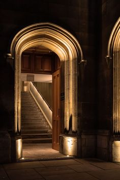 """Corpus Christi College, Cambridge - Old Hall, Wilkins Stair & Parker Room - dpa lighting consultants - """"Right Light, Right Place, Right Time"""" ™ Entrance Lighting, Facade Lighting, Stair Lighting, Outdoor Lighting, Corpus Christi College, Architectural Lighting Design, Stone Stairs, External Lighting, Backdrops"""