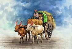 Farmer Painting, Realistic Drawings, Art Drawings, Rajasthani Painting, Lord Ganesha Paintings, Art Village, Watercolor Paintings, Watercolor Animals, Painting Art