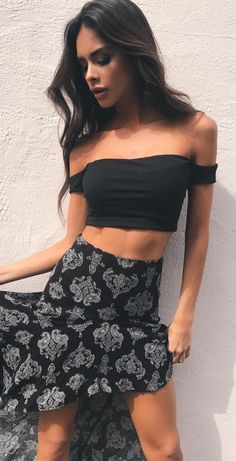#summer #outfits  Black Off The Shoulder Crop + Black Printed Maxi Skirt