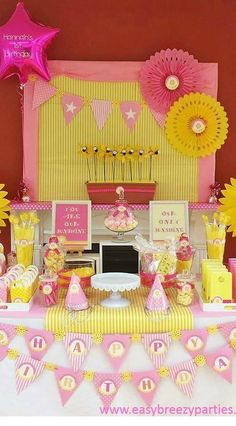 Dessert table at a Little Miss Sunshine birthday party!  See more party planning ideas at CatchMyParty.com!