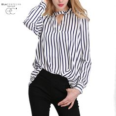 ElaCentelha Women Summer Autumn 2016 Tops Chiffon Blouse Women Shirts New Striped Plus Size Loose Elegant Office Ladies Blouses