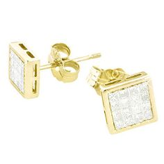 These versatile Gold Princess Cut Diamond Stud Earrings weigh approximately 2 grams and showcase ctw of sparkling princess cut diamonds, each invisibly set in polished square shaped gold frames. Featuring pushback closures for convenient wear, th Bone Jewelry, Cross Jewelry, Copper Jewelry, Black Hills Gold Jewelry, Gold Filled Jewelry, Black Stud Earrings, Hoop Earrings, Mens Gold Bracelets, Engraved Jewelry