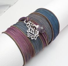 Hand Dyed Silk Ribbon Bracelet with Lotus Charm $32.00 #gift #brigteam #jewelry