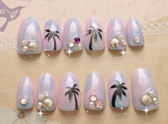 Pastel nails 3D nails resort tie dye beach tropical by Aya1gou