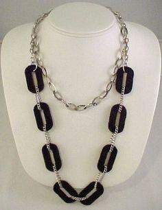 Vtg 1990s Claire's Icing Silver Tone Chain & Black Velvet Link 2 Strand Necklace #Icing #StrandString