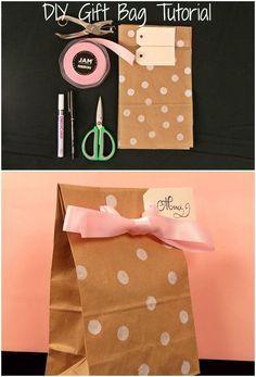 diy gift bags tutorial pink