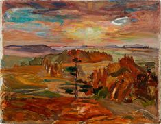 """""""Sunset Near Doon, Ontario,"""" Frederick Horsman Varley, oil on board, 11 x 15 private collection. Tom Thomson, Group Of Seven, Canadian Art, Fine Art Auctions, Ontario, Sunset, Landscape, Oil, Painting"""