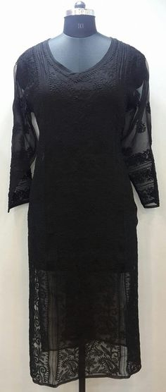 Lucknow Chikan Online Kurti Black on Black Faux Georgette with very fine murri, shadow & kangan work with designer  $35