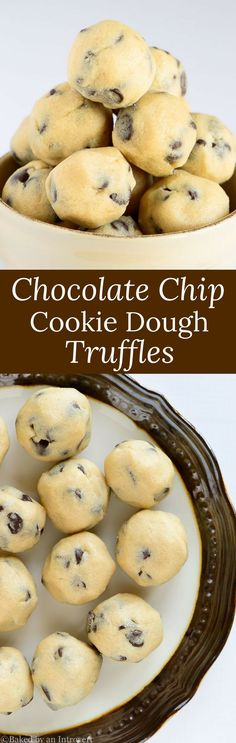 This simple recipe for Eggless Chocolate Chip Cookie Dough Truffles allows you to enjoy raw cookie dough without the worry of getting sick. via @introvertbaker