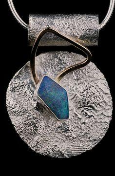 """""""Fancy Blues"""" (by Leslie Rhoades) Sterling silver, 18k gold, Solid boulder opal OOAK Pendant, (SOLD) OOAK, handmade, custom art jewelry, original Come see my Etsy shop: https://www.etsy.com/shop/MrsHappy22"""