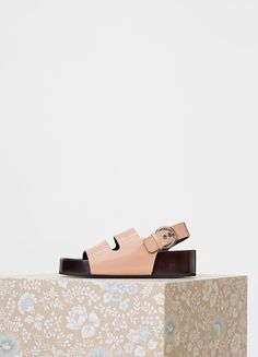 Boxy Double Band Slingback with Stacked Leather Fusbet in Soft Patent - セリーヌについて