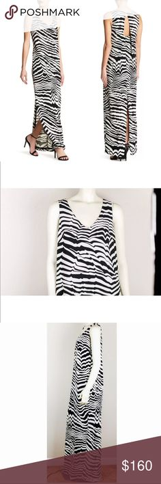 Trina Turk Black White Macee Print Zebra Dress Trina Turk Black White Macee Print Zebra Striped Open Back Maxi Dress Size 8  Bust: 19  Waist: 22  Length: 62 Trina Turk Dresses Maxi