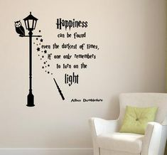 Happiness can be found even in the darkest of times wall sticker / harry potter wall art / removable dumbledore decal Harry Potter Wall Art, Harry Potter Bedroom, Removable Wall Decals, Vinyl Wall Decals, Hogwarts, The Darkest, At Least, How To Apply, Happiness
