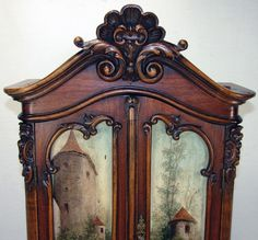 """RARE Antique Black Forest Carved 24+"""" Hunt Themed Miniature Armoire, Hunt Them Oil Painting Doors"""