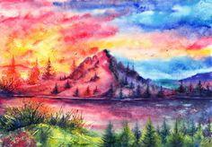 watercolor painting landscape - Buscar con Google