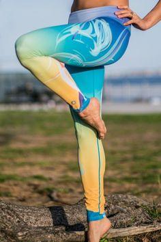 ArtMystica Yellow-Blue Leggings | Yoga Leggings | Surfing Leggings | $59.99