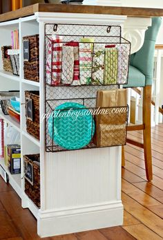 Lots of organization and storage ideas in this post!  Use a wire magazine basket for kitchen storage.