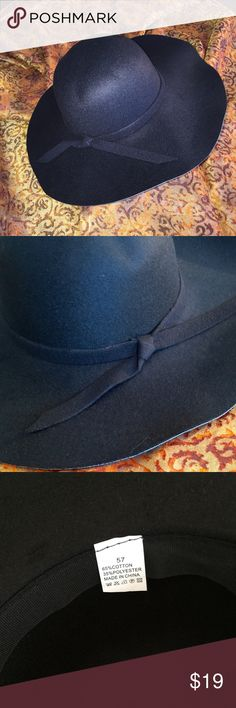 """Black Floppy Boho Hat Made from 65% cotton, 35% polyester, the hat's crown measures 22"""" but it has a little give for a slightly larger head. With matching ribbon, the hat has a 4"""" brim. Funky and fun! NWOT Accessories Hats"""