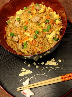 Secret Pork Fried Rice Recipe for - A Mama, Baby & Shar-pei in the Kitchen - lovemepin Pork Dishes, Rice Dishes, Rice Bowls, Guacamole, Asian Recipes, Healthy Recipes, Chinese Recipes, Yummy Recipes, Mixed Vegetables