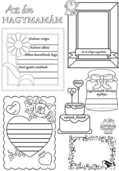 Társítsd a képet a Paint programmal, másold Word… Mother And Father, Mother Day Gifts, Fathers Day, Grandmother's Day, Mom Day, Got Party, Free Printable Stickers, Mother's Day Diy, Grandparents Day