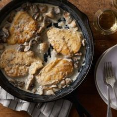 A rich and creamy sauce coats chicken breasts in this quick and comforting dinner. If you don't have chicken cutlets (thin-sliced boneless chicken breast) on hand, you can make your own by slicing two chicken breasts in half horizontally. Garlic Mushrooms, Stuffed Mushrooms, Stuffed Peppers, Chicken Mushrooms, Chicken Mushroom Recipes, Chicken Recipes, Potato Recipes, 400 Calorie Dinner, Boneless Chicken Breast