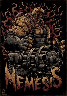 Nemesis on Behance Resident Evil Nemesis, Resident Evil 3 Remake, Resident Evil Game, Arte Kombat Mortal, Resident Evil Collection, Pop Art Illustration, Art Illustrations, Evil Art, Horror Artwork