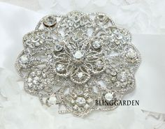 "3.38"" Round Large Austria Crystal Wedding Bridal Dress Gown Ribbon Belt / Hair Comb BRH00281. $22.99, via Etsy."