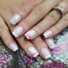 cute alternative to hello kitty nails, just a tad more mature for the inner girly girl lol by viviany07