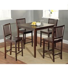 @Overstock.com - Shaker Counter Height 5-piece Dining Set - Enhance your home decor with a five-piece Shaker Counter height dining set in an elegant espresso finish. This set is perfect for any home decor.  http://www.overstock.com/Home-Garden/Shaker-Counter-Height-5-piece-Dining-Set/7512046/product.html?CID=214117 $369.99