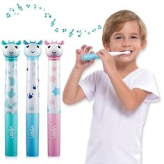New Yijan Upgrade IPX7 3 Colors Silicone Brush Head Kids Automatic Vibration Music Electric Toothbrush with Bristle Replacement