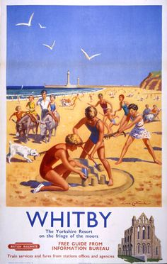 YORKSHIRE Whitby, Resort on the fringe of the moors - 1956 - (Lance Cattermole) Old Poster, Vintage Poster, Vintage Travel Posters, Vintage Postcards, Vintage Ski, Vintage Stuff, Posters Uk, Train Posters, Railway Posters