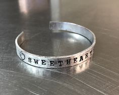 Sweethearts Club hand stamped bracelet in copper or aluminum