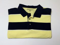 Charles Tyrwhitt XL Men's Polo Short Sleeve Shirt 100% Cotton Stripe #CharlesTyrwhitt #PoloRugby