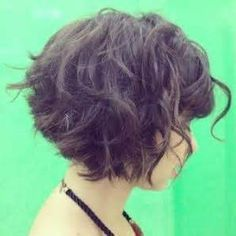 Curly Stacked Bob Hairstyles Back. on short stacked bob hairstyles Brown Curly Hair, Curly Hair Cuts, Short Curly Hair, Wavy Hair, Short Hair Cuts, Curly Hair Styles, Curly Bangs, Short Bangs, Curly Bob With Fringe