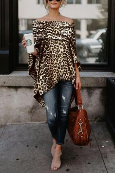 Off Shoulder Leopard Printed Asymmetric T-Shirts – ebuytide t shirt outfit t shirts outfit summer t shirts outfit casual t shirts outfit dressy t shirts outfit jeans and Mode Outfits, Fall Outfits, Fashion Outfits, Womens Fashion, Fashion Tips, Fashion Trends, Funky Fashion, 50 Fashion, Ladies Fashion