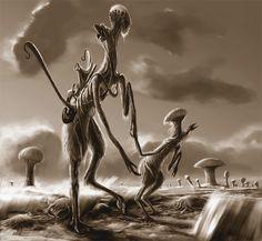 Alien Parenthood Sepia by Abiogenisis on DeviantArt