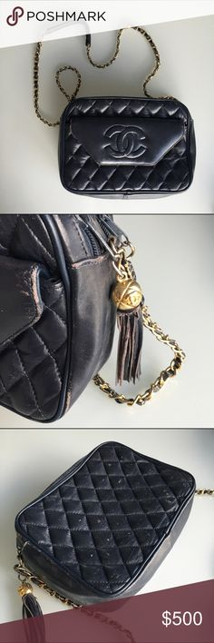 cafbddf137be Vintage Chanel navy purse Very well loved vintage navy Chanel bag with gold  hardware. One