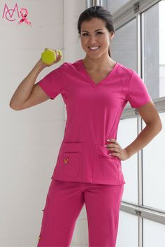 Wellness Tip: Stay strong in the fight against breast cancer in our Pink Punch Activate scrubs. Regular physical activity can help reduce the risk of cancer so it is important to try and stay active! #lookgoodfeelgood #LoveMedCouture