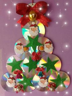 Cd Crafts, Plate Crafts, Decor Crafts, Crafts For Kids, Arts And Crafts, Christmas Projects, Christmas Time, Christmas Bulbs, General Crafts