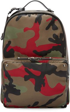 Valentino Green & Red Camo Print Backpack