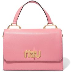 Miu Miu My Miu textured-leather tote ($2,045) ❤ liked on Polyvore featuring bags, handbags, tote bags, baby pink, miu miu tote, red tote, pink tote purse, pink tote and logo tote bags